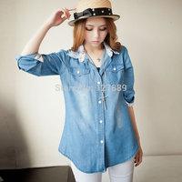 2014 spring /summer gentlewomen laciness lace long-sleeve denim shirt female match fashion polo print Pocket decoration blouses