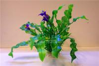 Leybold anthurium wave purple fish tank fish aquarium accessory decoration artificial flowers 20cm