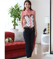 2014 summer new women's sleeveless frozen Sweet / cute chiffon skirts casual shirt printing lapel blouse wild