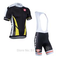 2014 castelli Cycling Set yellow/black pro jersey/bib shorts rock racing cycling jersey bicycle/bike/riding/cycling clothing