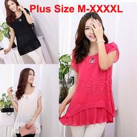 2014 New Fashion Women Summer O-neck cool pullover long style chiffon shirt top women's Chiffon blouse M-XXXL Free shipping