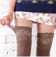 2014 Fashion New Voile Lace Long Knee Socks Vertical Stripe Thin Leg Woman Sock 6 Colors