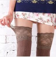 2014 Fashion New Voile Lace Long Knee Socks Vertical Stripe Thin Leg Woman Sock 6 Colors