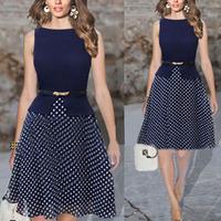 Summer dress 2014 New Womens Women Elegant Vintage Celeb Polka Dot Party OL Chiffon Tunic Tutu Dresses With Belt Plus size