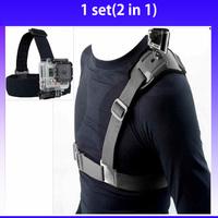 Gopro Strap Mount Shoulder Chest Belt + Go Pro Head Strap Mount For Gopro Camera Hero 3 3+ 2 Accessories Black Edition