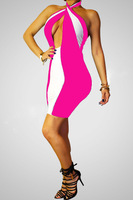 summer dress 2014 bright colorful stitching sexy nightclub dress chest wrapped stunning bandage bodycon dress