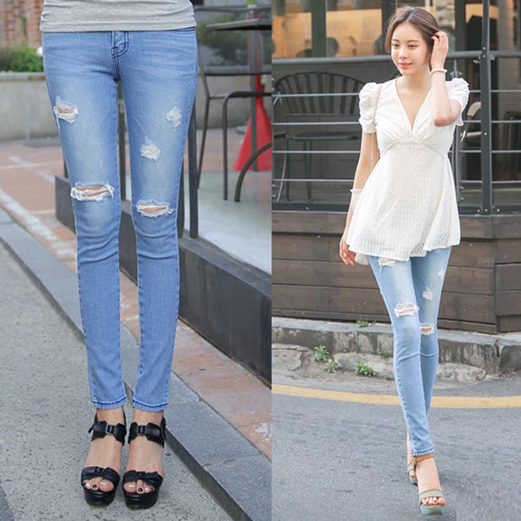отверстие джинсы лето Мода slim джинсы