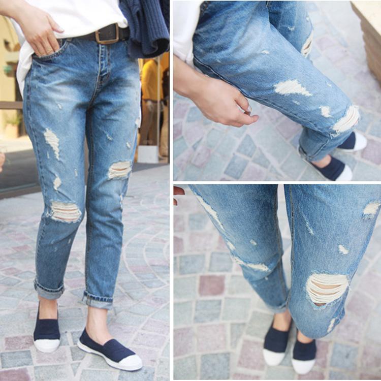 женщин личности отверстие денима джинсы голеностопного