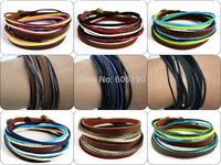 MIX011 promotion mix styles high quality fashion handmade leather wrap bracelets jewelry unisex for men & women 6pcs/lot