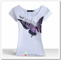 2014 Brand New Women Butterfly Printing T-shirts Beading Rhinestone Decoration Fashion Slim Fit T shirt White