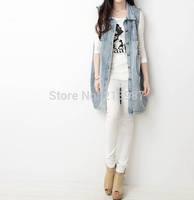 2014 Autumn new design vest women turn down collar medium-long plus size denim vest quality women colete hole denim outerwear