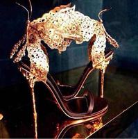2014 Sexy Peep Toe Women Sandal Designer Gold Butterfly High Heels Gladiator Sandals Wedding Shoes Woman Dress Shoe