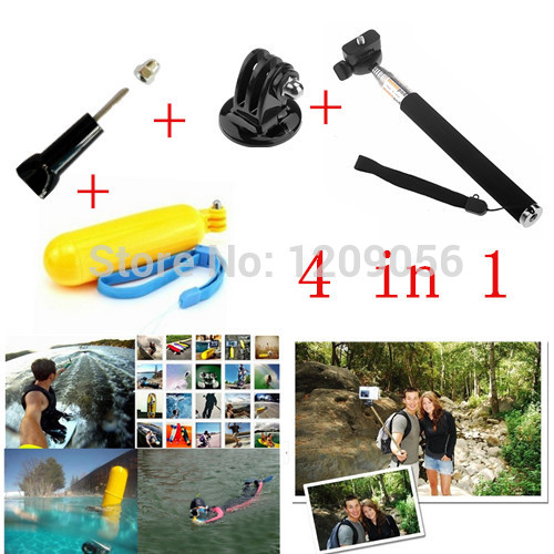 Gopro Handheld Monopod Tripod Mobile phone Monopod+Tripod Mount Adapter +Yellow Float Bobber Handheld Stick+Gopro Screw For Hero(China (Mainland))