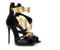2014 Women summer pump sandals GZ wedges golden gold leaf high heels sandals heel brand pump sandals high heels shoes