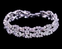Fine Jewelry,Rhinestone Silver Plated Bracelet,Elegant Beautiful Bracelet,Hot ,Asian Crystal Bracelet Free Shipping BG-48
