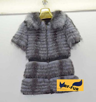 2014 New design Genuine Silver Fox Furs Jackets Coats Women Horizontal stripes Fox Furs Outerwear Slim Overcoats Wholesale