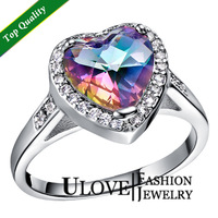 Sale New 2014 Fashion Women Ring Multi-colored Rianbow Crystal 925 Stering Silver jewelry Wedding Gift Ring for women Ulove J480