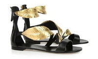 2014 Women summer flat sandals GZ wedges golden gold leaf high heels sandals heel brand pump sandals