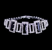 Fashion Jewelry,Rhinestone Silver Plated Bracelet,Black Gem Fashion Bracelet,European And American ,Hot Selling Bracelet,BG-51