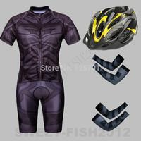 2014 NEW!  SUPER HERO Black The Batman  Bicycle Cycling Kits Wear Jerseys Shorts Suit + Bib Pants +Oversleeve+Helmets