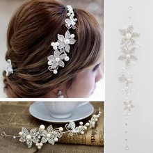 Women Lady Rhinestone Pearl Flower Wedding Bridal Headband Hair Band Tiara Gift
