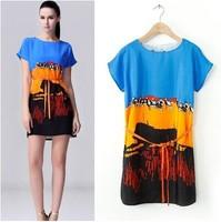 2014 new hot sale brand za spring summer women female fashion dress animal print short sleeve mini dress galaxy dress