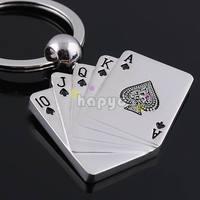 free ship 54pcs alloy poker straight flush keychain car key ring couple lover key chain advertising wedding gift keychains
