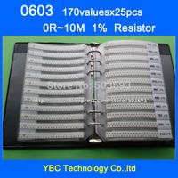 Free shipping 0603 SMD Resistor Sample Book 1% Tolerance 170valuesx25pcs=4250pcs Resistor Kit 0R~10M