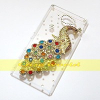 1 Pcs Handmade Bling Diamond Peacock Clear Transparent Hard Back Case Cover For Sony Xperia M2 D2303 D2305 D2306 Dual D2302