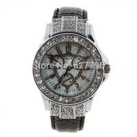 Fashion Miler Dials Decoration Wrist Watch with Rhinestone Decoration for Female