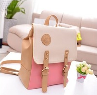 New Arrival !Korean Style 4 Candy Colors 2014 Summer Sweet Girls Casual Backpack,Color Block Pu Leather School Bag/Travel Bags