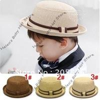 Solid Color Kids Straw Fedora Hat Cowboy Hat Boy's Summer Sun Hat Baby Boy Sunbonnet Topee 10pcs/lot Free Shipping MZ-0388