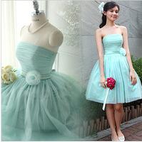 Free shipping  2014 new Bridesmaid dress short design  fresh mint green tube top dress one-piece dress