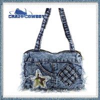 Latest Arrival Stars Full Print Fashion Brand Design Denim Bucket Handbags Women Hottest Messenger Bags For Ladies