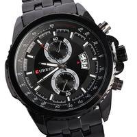 Relogio top brand luxury men watch calendar curren steel watches 2014 waterproof stainless steel watch free shipping