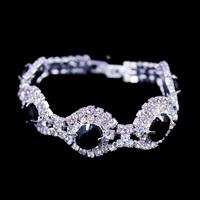 Promotion!!Rhinestone Hand Chain,Black Gem Fashion Jewelry Bracelet,Hot Selling Bracelet,High Quality Silver New Bracelet,BG-53