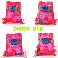Factory direct sale Peppa pig bag backpack Kids Drawstring Bags,Shopping/School/Traveling/GYM bags,waterproof fabric #30