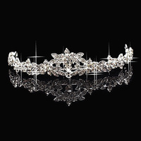 Wholesale Hot Fashion Austria Crystal Flower Silver Plated Bridal Wedding Crown Tiara Hairbands Accessary