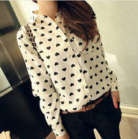 new 2014 spring auturn Fashion vintage women's shirt chiffon shirt love heart sweet black Women long-sleeve casual blouse
