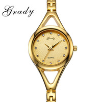 Grady brand free shipping gold plated ladies watch