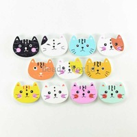 Wholesale 100 Pcs Mixed Cute Cat 2 Holes Wood Sewing Buttons Scrapbooking 20x15mm For Handcraft DIY Jewelry Findings(W03699 X 1)