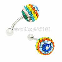 NEW 2014 Colorful Rhinestone Flower Shambhala Ball Navel Belly Bar Ring Body Piercing Titanium Belly Button Earrings nail Women