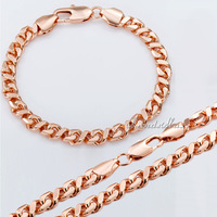 Customized 6.5mm Mens Womens Chain Curb Cuban HELIX Link 18K Rose Gold Filled Necklace Bracelet Set Wholesale Jewelry Set GS187