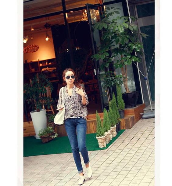 Venda quente das mulheres Casual Protetor solar Chiffon Blusa 2014 , Verão, Outono Sexy Leopard Print shirt(China (Mainland))