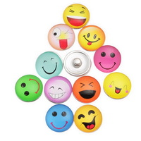 """2014 New 12PCs Snap Buttons Fit Snap Bracelet Smiling Face Mixed 18mm( 6/8"""") free shipping"""