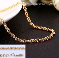 18K Chain - PBC033 - /  Yellow Gold Singapore twisted Chain Necklace 18K Plated Gold Chains & Necklaces For Women / Men