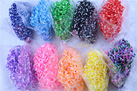 neon tie dye DIY loom bands colorful Rubber band for charm Bracelet (600pcs band + 24 S-clip ) 10colors for choose