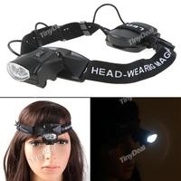 2-LED Headband Illuminating Magnifier Supporting Glasses Magnifier Magnifying Lens Eye Gauge for Handicraft - Black HMM-84760