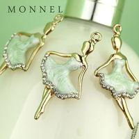 H535b Summer Hot Sale 3pcs Green Dress Crystal Ballerina Ballet Dancer Charm
