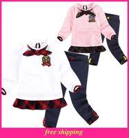 New Arrival Girl Long Sleeve clothes preppy style Kids Fashion Cotton Children Outwear Autumn Winter sport suit W4086